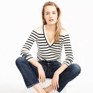 J. Crew Striped V Neck Cotton Sweater